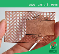 rose-colored metal card